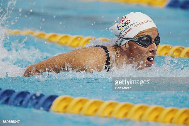 Madeleine Campbell of Great Britain swims in the Women's 100 metres Butterfly during the XXV Summer Olympic Games on 29 July 1992 at the Bernat...