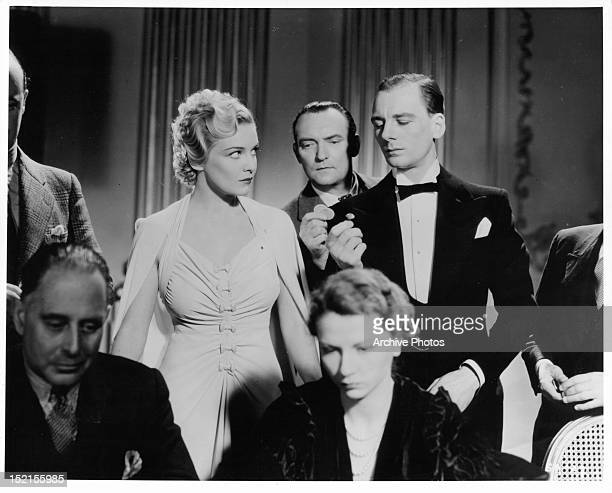 Madeleine Carroll and John Gielgud in a scene from the film 'Secret Agent' 1936