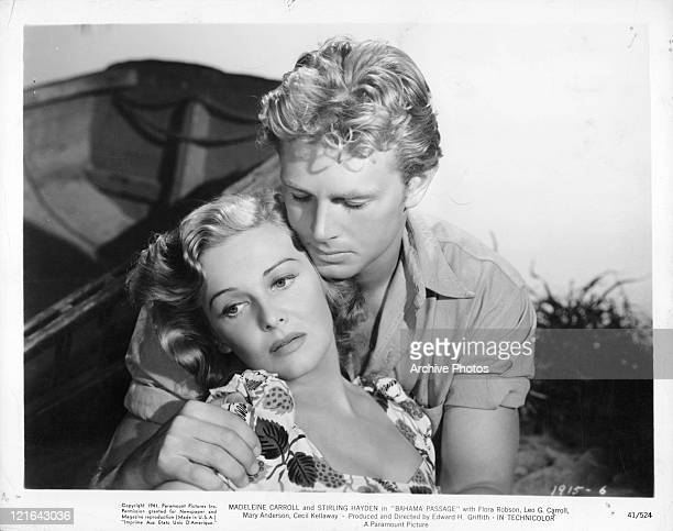 Madeleine Carroll in Stirling Hayden's arms in a scene from the film 'Bahama Passage' 1941