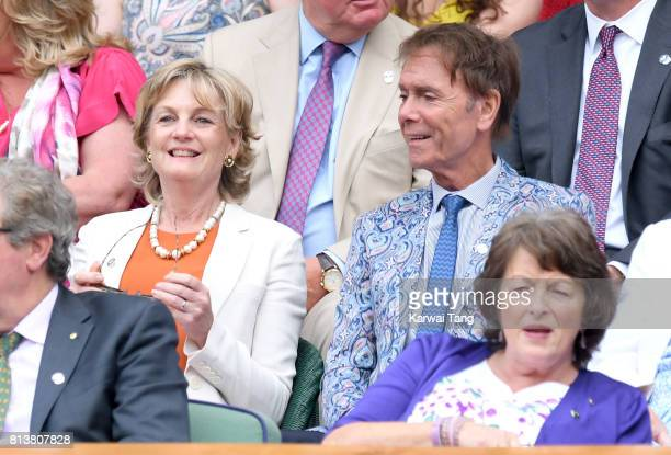 Madeleine Gurdon and Sir Cliff Richard attend day 11 of Wimbledon 2017 on July 13 2017 in London England