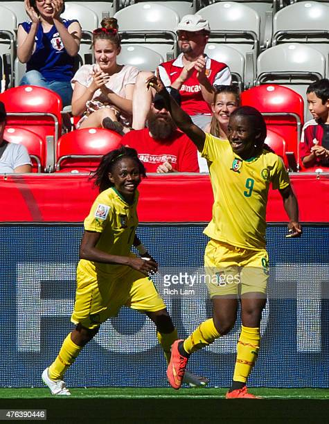 Madeleine Ngono of Cameroon celebrates with Gabrielle Onguene after scoring a goal against Ecuador during the FIFA Women's World Cup Canada 2015...