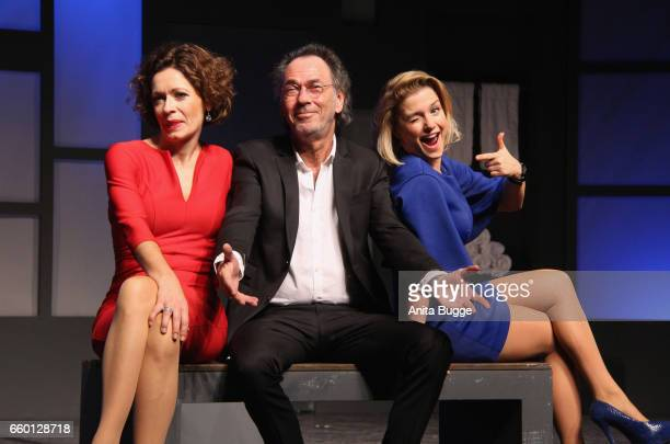 Madeleine Niesche Hugo Egon Balder and Jeanette Biedermann pose for the press during the rehearsal for the play 'Aufguss' at Theater am...