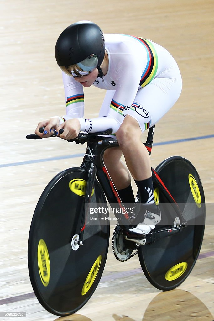 Madeleine Park of Auckland wears her UCI rainbow jersey while competing in the Elite Women &Under 19 Women 4000m Team Pursuit during the New Zealand Track National Championships on February 13, 2016 in Cambridge, New Zealand.
