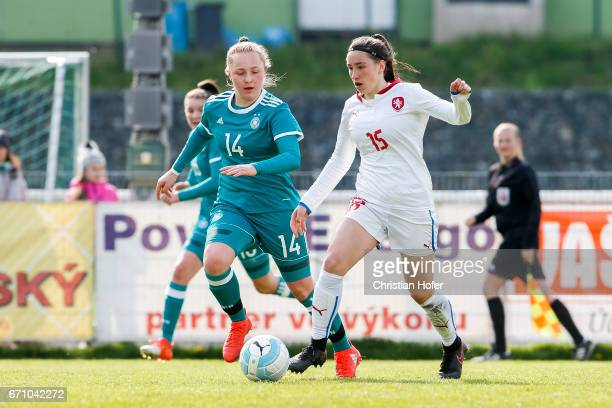 Madeleine Steck of Germany challenges Anna Subrtova of Czech Republic for the ball during the Under 15 girls international friendly match between...