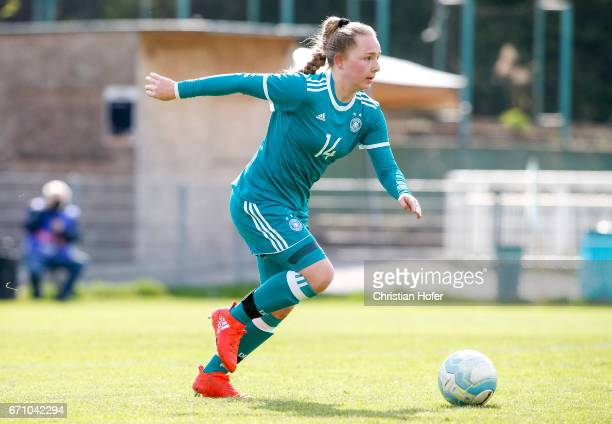 Madeleine Steck of Germany controls the ball during the Under 15 girls international friendly match between Czech Republic and Germany on April 19...