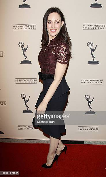 Madeleine Stowe arrives at The Academy of Television Arts Sciences presents an evening with 'Revenge' held at Leonard H Goldenson Theatre on March 4...
