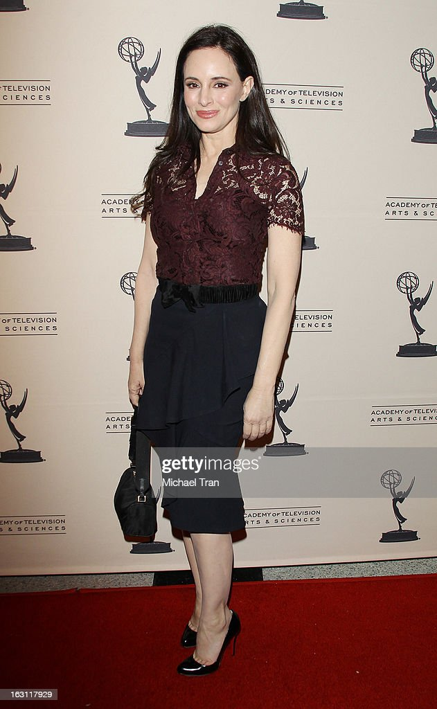 Madeleine Stowe arrives at The Academy of Television Arts & Sciences presents an evening with 'Revenge' held at Leonard H. Goldenson Theatre on March 4, 2013 in North Hollywood, California.