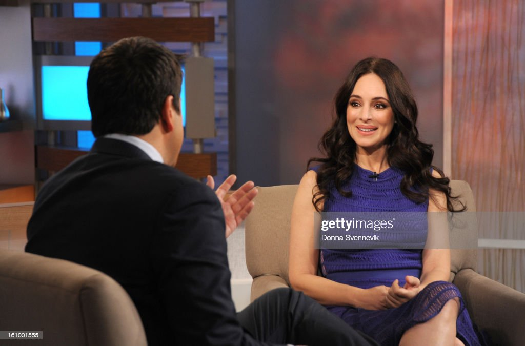 AMERICA - Madeleine Stowe of ABC's the 'Revenge' is a guest on 'Good Morning America,' 2/8/13, airing on the ABC Television Network. (Photo by Donna Svennevik/Disney-ABC via Getty Images)JOSH ELLIOTT, MADELINE STOWE