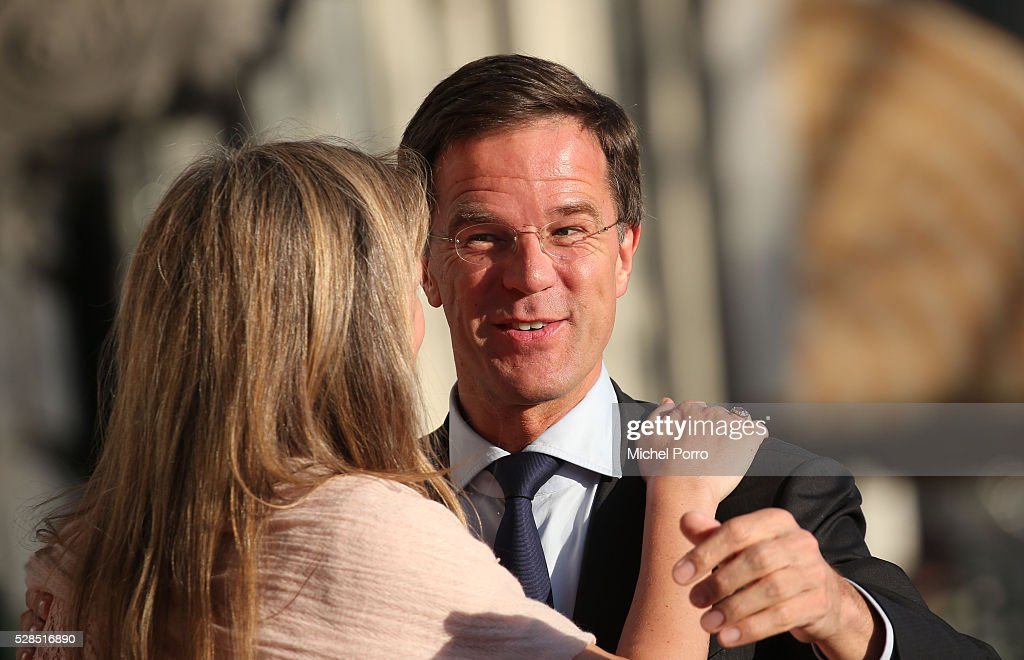 Madeleine van der Zwaan greets Dutch Prime Minister Mark Rutte before the Liberation Day Concert on May 5, 2016 in Amsterdam, Netherlands. Liberation Day (Dutch: Bevrijdingsdag) is celebrated each year on May the 5th to mark the end of the occupation by Nazi Germany during World War II.