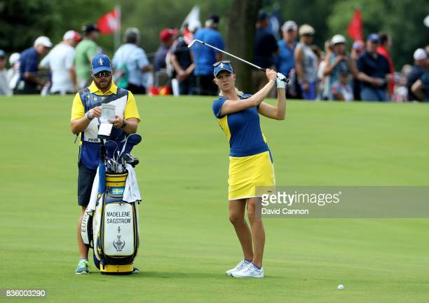 Madelene Sagstrom of Sweden and the European team in action against Austin Ernst of the United States team during the final day singles matches in...