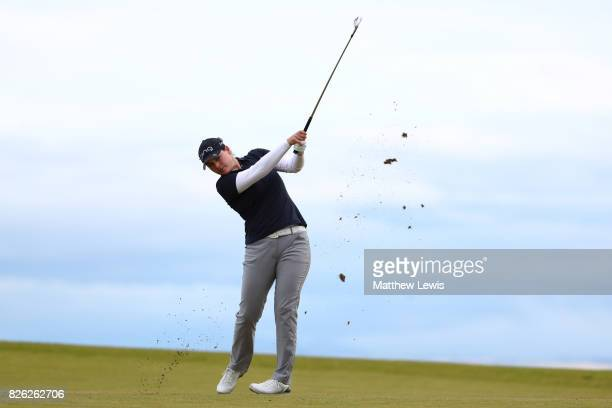 Madelene Sagstrom of Sweden hits her second shot on the 4th hole during the second round of the Ricoh Women's British Open at Kingsbarns Golf Links...