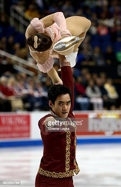 Madeline Aaron and Max Settlage compete in the Championship Pairs Free Skate Program Competition during day 3 of the 2015 Prudential US Figure...
