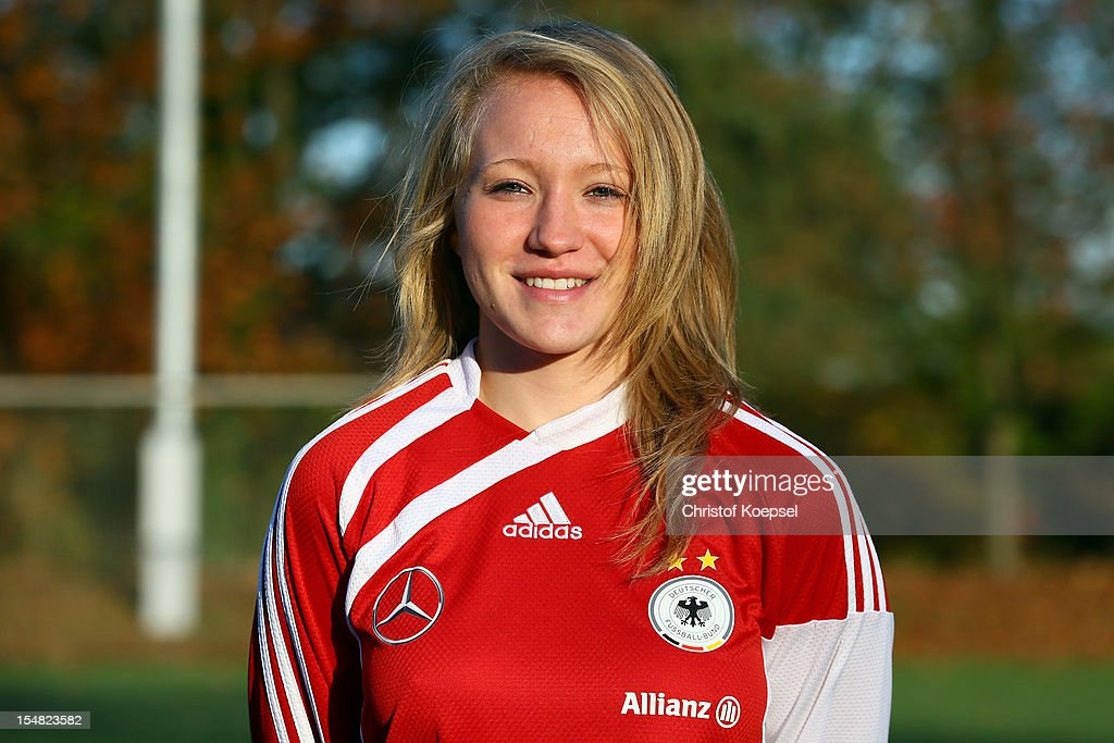 Madeline Gier poses during the Germany Women's U17 team presentation at Sport School Wedau on October 27, 2012 in Duisburg, Germany.