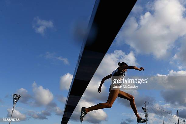 Madeline Hills of New South Wales competes in the womens 3000m steeplechase during the Australian Athletics Championships at Sydney Olympic Park on...
