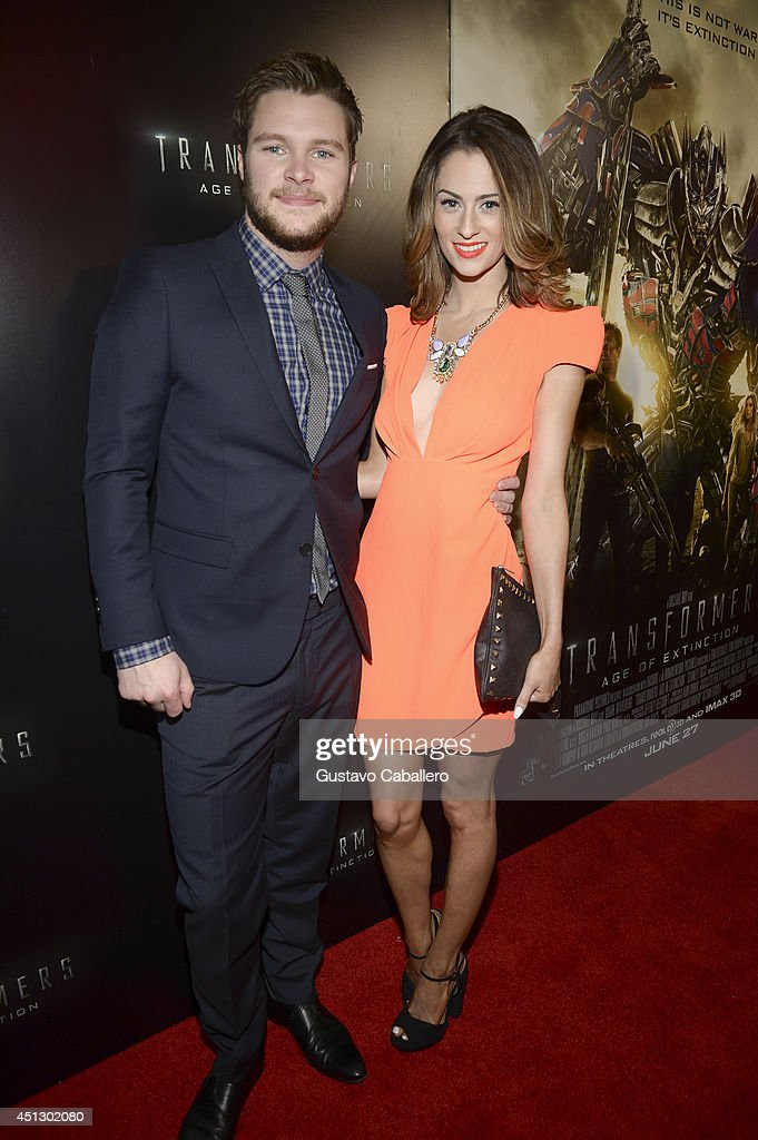 Madeline Mulqueen and actor Jack Reynor arrive to the Miami Special Screening of 'Transformers Age of Extinction' at Aventura Mall on June 26 2014 in...