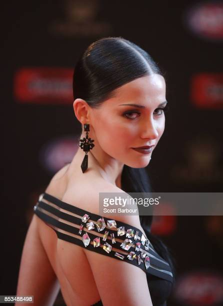 Madeline Ryan the partner of Brisbane's Stefan Martin arrives ahead of the 2017 Brownlow Medal at Crown Entertainment Complex on September 25 2017 in...