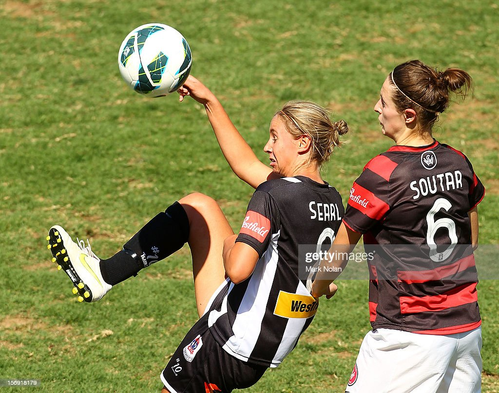 Madeline Searl of the Jets and Racheal Soutar of the Wanderers contest possesssion during the round six W-League match between the Western Sydney Wanderers and the Newcastle Jets at Campbelltown Sports Stadium on November 25, 2012 in Sydney, Australia.
