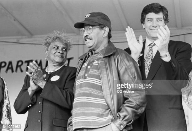 Madeline Stallings District Chair Rep John Conyers DMich and Rep Bob Carr DMich at Focus Hope March at Detroit Michigan on October 13 1994 'n