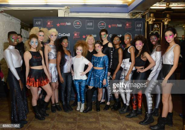 Madeline Stuart poses with models backstage during New York Fashion Week Art Hearts Fashion NYFW FW/17 Backstage/Front Row at The Angel Orensanz...