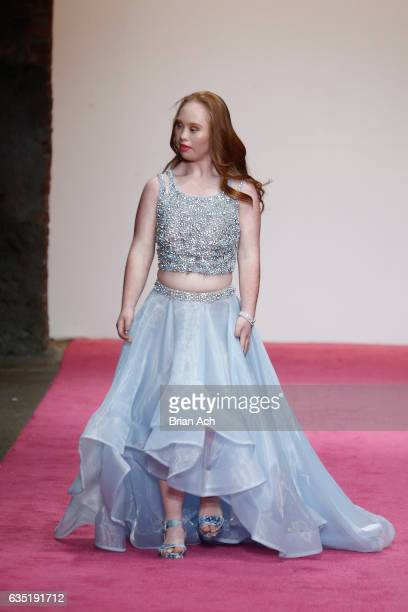 Madeline Stuart walks the runway during Nolcha Shows Runway New York Fashion Week 2017 PromGirl / PromGuy at ArtBeam on February 13 2017 in New York...