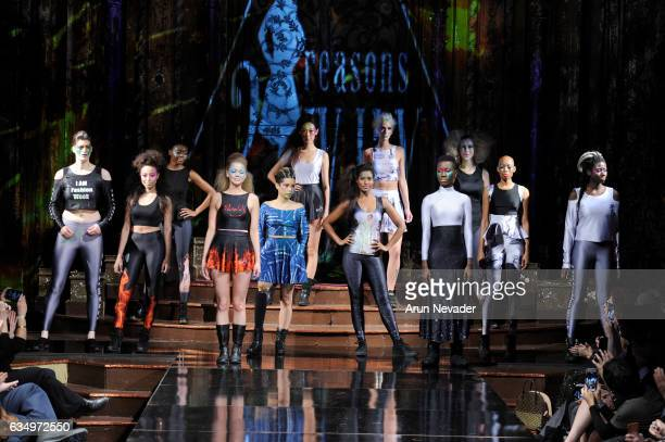Madeline Stuart walks the runway with models during 21 Reasons Why By Madeline Stuart at New York Fashion Week Art Hearts Fashion NYFW FW/17 at The...