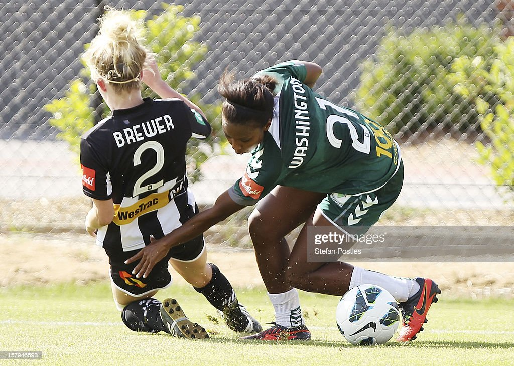 Madeline Washington of Canberra United and Hannah Brewer of Newcastle Jets contest possession during the round eight W-League match between Canberra United and the Newcastle Jets at Deakin Football Stadium on December 8, 2012 in Canberra, Australia.