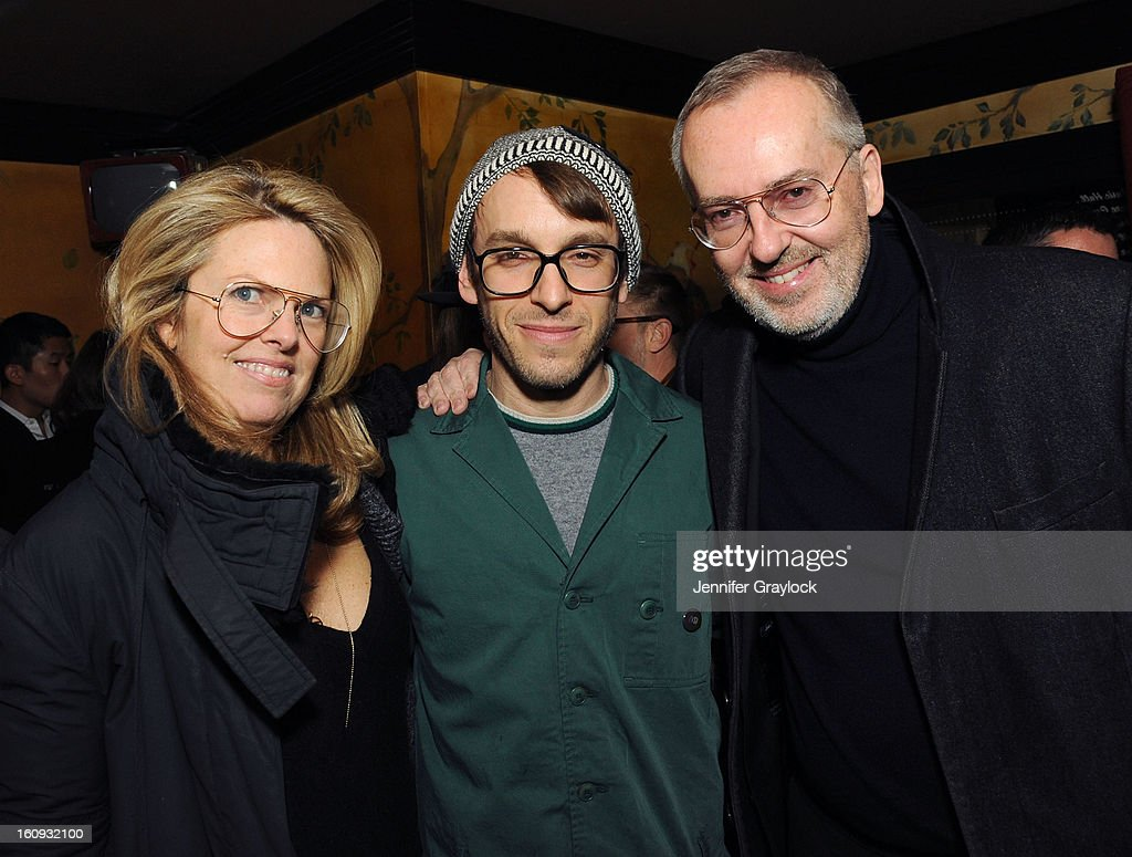 Madeline Weeks, Fashion designer Scott Sternberg and <a gi-track='captionPersonalityLinkClicked' href=/galleries/search?phrase=Jim+Moore+-+Creative+Director&family=editorial&specificpeople=14713491 ng-click='$event.stopPropagation()'>Jim Moore</a> attend the Band Of Outsiders Fashion Week Mens Collection After Party held at the Monkey Bar on February 7, 2013 in New York City.
