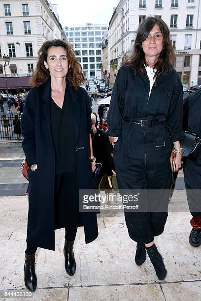 Mademoiselle Agnes Boulard and Emmanuelle Alt attend the Atelier Versace Haute Couture Fall/Winter 20162017 show as part of Paris Fashion Week on...