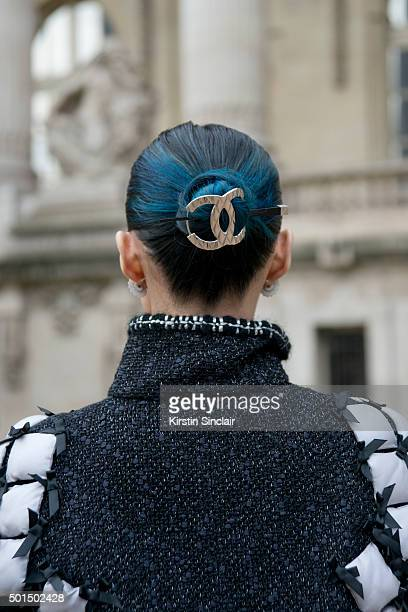 Mademoiselle Yulia wears a Chanel hair pieceand jacket on day 8 during Paris Fashion Week Spring/Summer 2016/17 on October 6 2015 in Paris France...