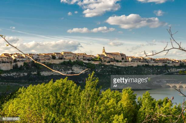 Maderuelo medieval village surrounded by the Linares swamp, Segovia, Spain