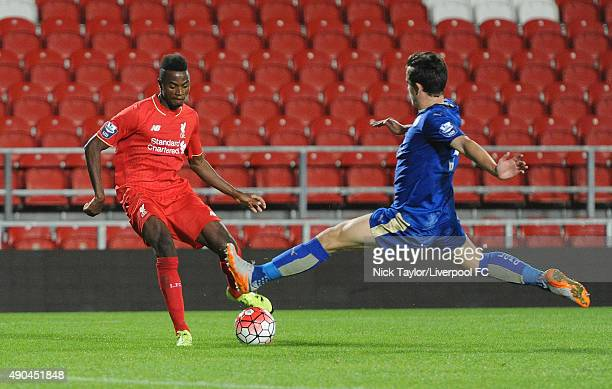 Madger Gomes of Liverpool and Ben Chilwell of Leicester City in action during the Liverpool v Leicester City U21 Premier League game at Langtree Park...
