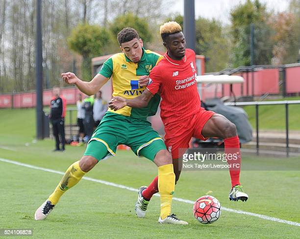 Madger Gomes of Liverpool and Ben Godfrey of Norwich City in action during the Liverpool v Norwich City U21 Premier League game at The Kirkby Academy...