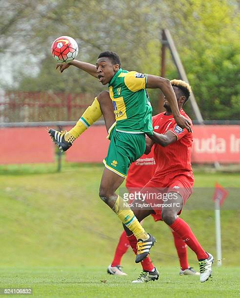 Madger Gomes of Liverpool and Ebou Adams of Norwich City in action during the Liverpool v Norwich City U21 Premier League game at The Kirkby Academy...