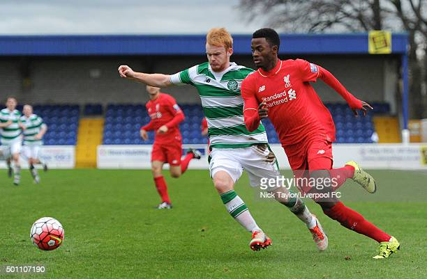 Madger Gomes of Liverpool and Jack Breslin of Celtic in action during the Liverpool v Celtic Premier League U21 International Cup game at the Lookers...