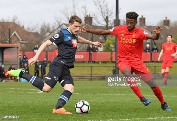 Madger Gomes of Liverpool and TimiMax Elsnik of Derby County in action during the Liverpool v Drby County Premier League 2 game at The Academy on...