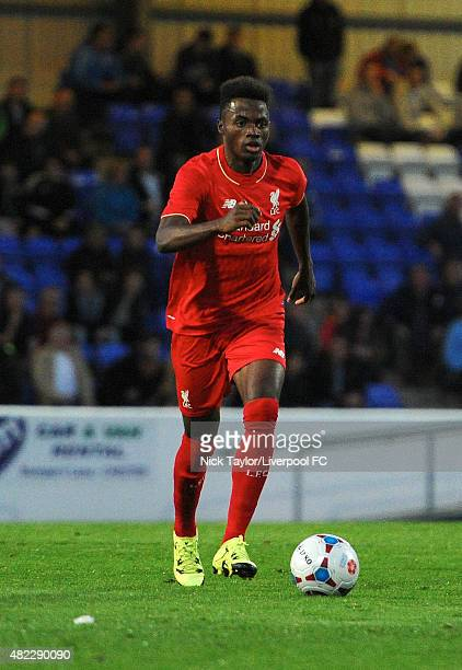 Madger Gomes of Liverpool in action during the Chester v Liverpool U21 preseason friendly game at The Swansway Chester Stadium on July 29 2015 in...