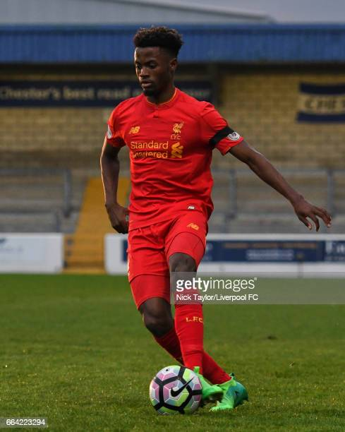 Madger Gomes of Liverpool in action during the Liverpool v Norwich City U23 Premier League Cup game at Lookers Vauxhall Stadium on April 3 2017 in...