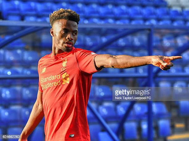 Madger Gomes of Liverpool in action during the Liverpool v Reading Premier League 2 game at Prenton Park on November 20 2016 in Birkenhead England