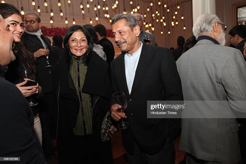 Madhu Threhan and Naresh Trehan at the launch party of Rohit Bal Luxury Weddings at Nandiya Gardens, ITC Maurya on December 18, 2013 in New Delhi, India.