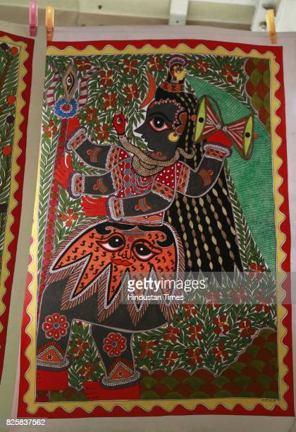 Madhubani artwork for sale in Kisan Haat Andheria Modh Anuvrat Marg Desu Colony on February 18 2015 in New Delhi India