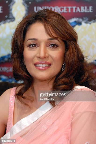 Madhuri Dixit attends a press conference at the Sunset Marquis Hotel on the eve of 'The Unforgettable Tour' at the Los Angeles Sports Arena where she...