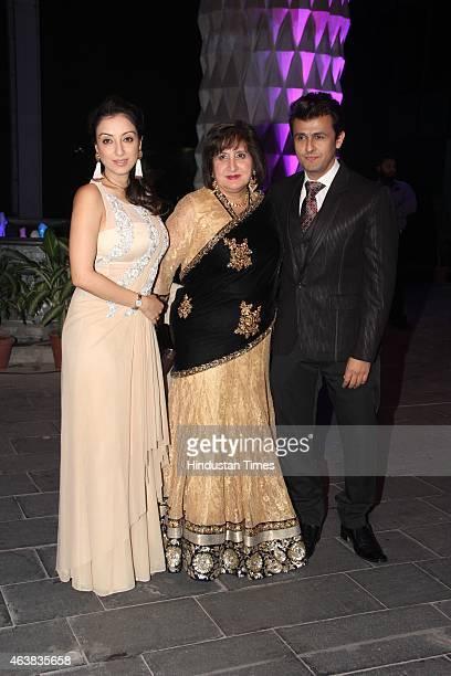Madhurima Nigam Rupinder and Sonu Nigam during the wedding reception of Bollywood filmmaker Smita Thackeray's son Rahul Thackeray and Aditi Redkar on...