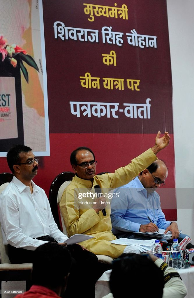 Chief Minister Shivraj Singh Chouhan addressing a press conference about his China visit on June 26, 2016 in Bhopal, India. Chouhan, who returned to Bhopal after a week-long visit to China and Hong Kong said that it is imperative that the two countries continue to maintain a cordial relation inspite of Chinese opposition to India's entry in the NSG.