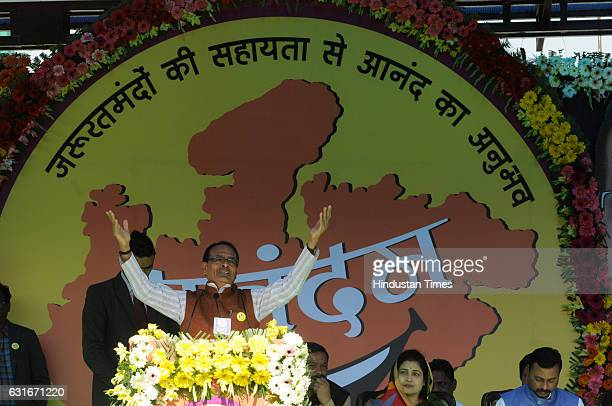 Madhya Pradesh Chief Minister Shivraj Singh Chouhan addressing during an inauguration of weeklong programme of Happiness Department 'Anandam' on the...