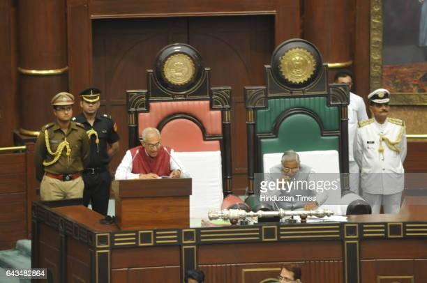 Madhya Pradesh Governor O P Kohli addressing the budget session of MP state assembly on February 21 2017 in Bhopal India