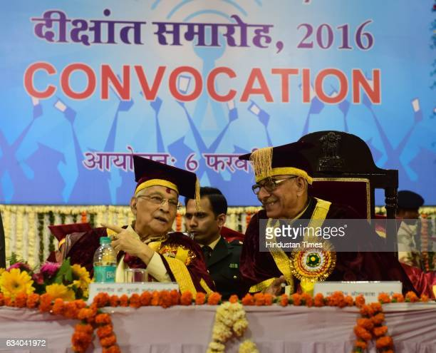 Madhya Pradesh Governor OP Kohli having a word with former Union Minister and veteran BJP leader Murli Manohar Joshi during the convocation ceremony...