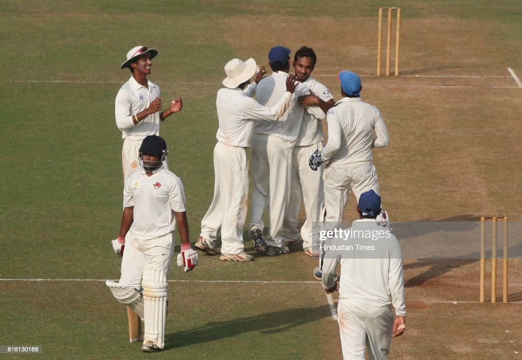 Madhya Pradesh players celebrates the wicket of Mumbai players during the match between Mumbai and Madhya Pradesh in CK Nayudu Trophy at CCI on Thursday.