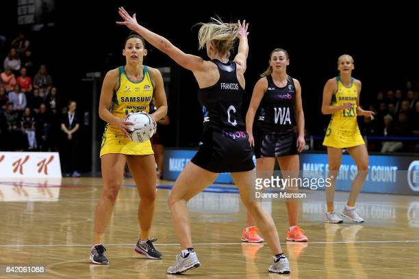 Madi Robinson of Australia looks to pass the ball during the 2017 Quad Series match between the New Zealand Silver Ferns and the Australia Diamonds...