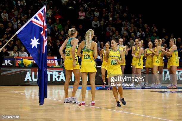 Madi Robinson of Australia runs out on court ahead of the 2017 Quad Series match between the New Zealand Silver Ferns and the Australia Diamonds on...