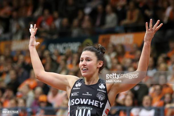 Madi Robinson of the Magpies appeals to the umpire during the Super Netball Major Semi Final match between the Giants and the Magpies at Sydney...